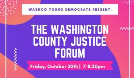 Pink and purple logo for justice forum