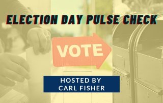 ballot box and mailboxes and vote sign with a yellow filter overlay and text election day pulse check
