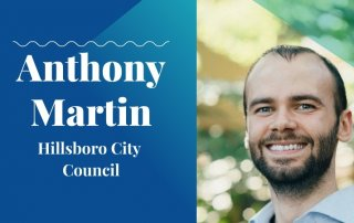 anthony martin 2020 candidate with washco dems logo teal background
