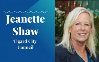 jeanette shaw 2020 candidate with washco dems logo blue background