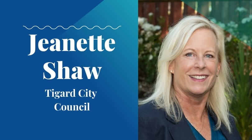 jeanette shaw 2020 candidate with washco dems logo teal background