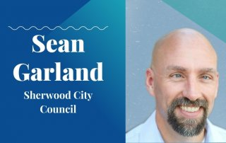sean garland 2020 candidate with washco dems logo teal background