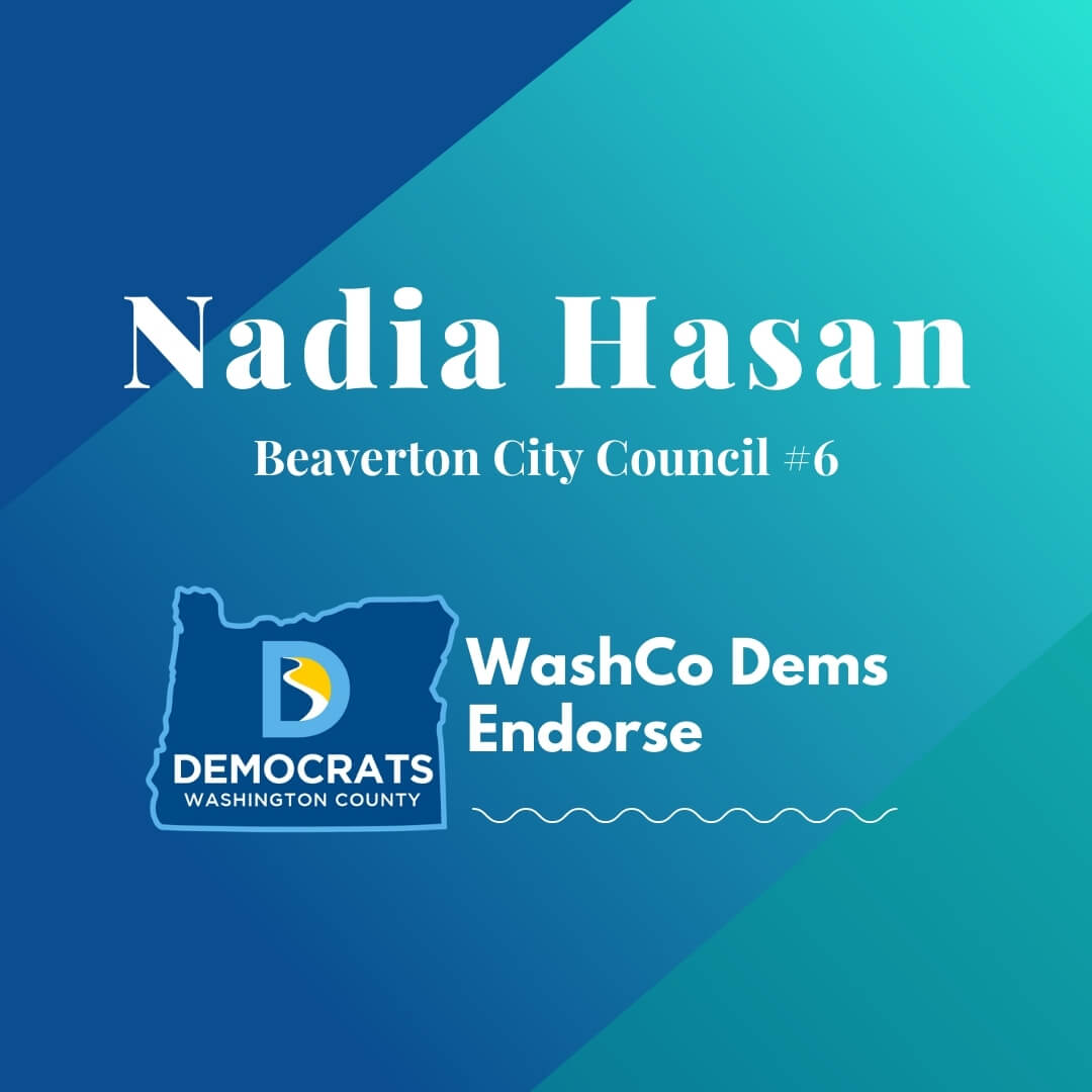nadia hasan 2020 candidate with washco dems logo teal background