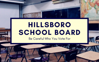 Image of a classroom with article title for hillsboro school board