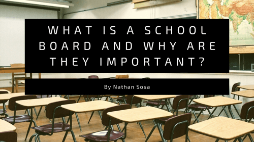 desks in a classroom with title overlay what is a school board and why are they important.