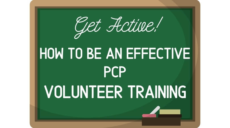 blackboard that says get active how to be an effective pcp volunteer training