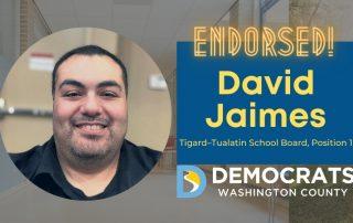 david jaimes candidate headshot with school photo in background and democrat logo