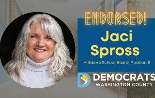 jaci spross candidate headshot with school photo in background and democrat logo