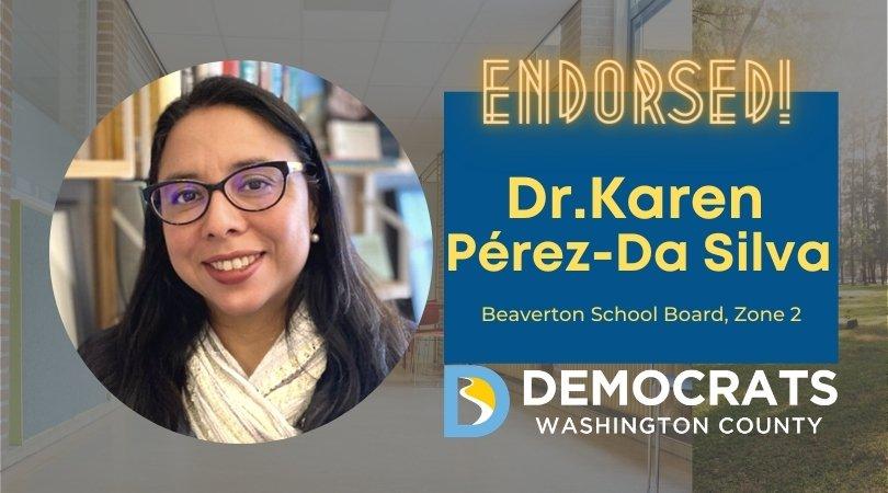 karen perez de silva candidate headshot with school photo in background and democrat logo