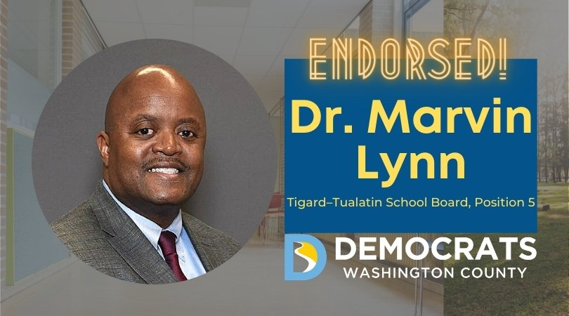 marvin lynn candidate headshot with school photo in background and democrat logo