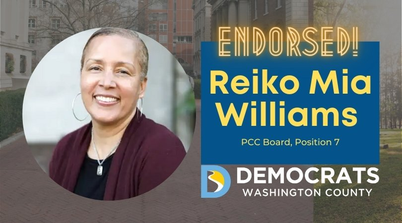 reiko williams candidate headshot with school photo in background and democrat logo