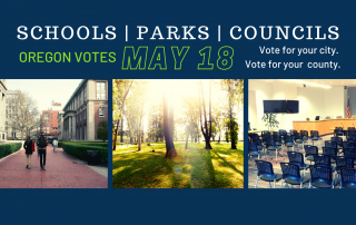 photo collage of schools, parks and council hall