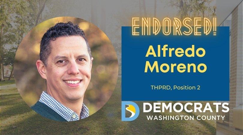 alfredo moreno candidate headshot with park photo in background and democrat logo