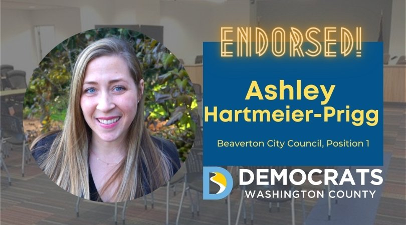 ashley hartmeier-prigg candidate headshot with council photo in background and democrat logo