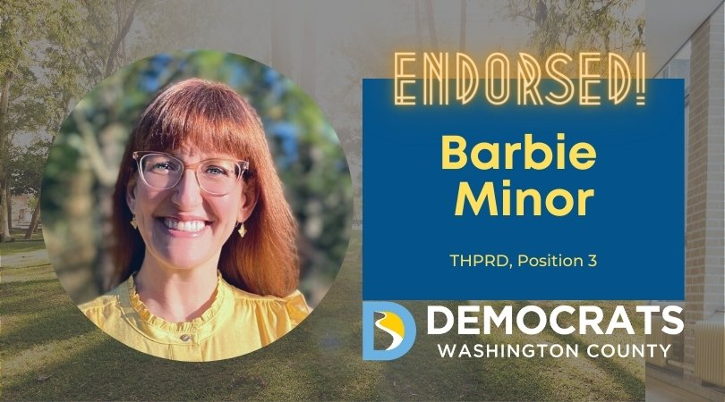 barbie minor candidate headshot with park photo in background and democrat logo