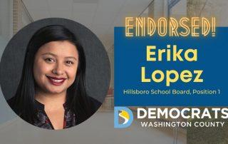 erika lopez candidate headshot with school photo in background and democrat logo