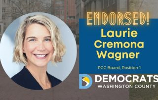 laurie cremona wagner candidate headshot with school photo in background and democrat logo