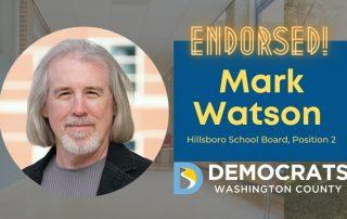 mark watson candidate headshot with school photo in background and democrat logo
