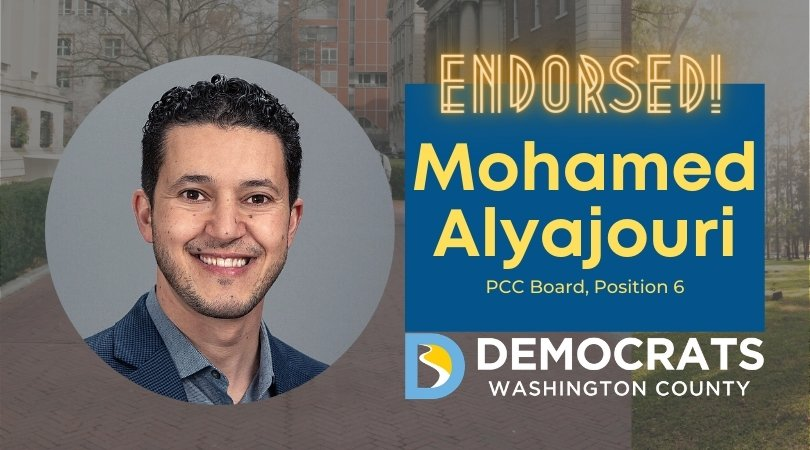 mohamed alyajouri candidate headshot with school photo in background and democrat logo