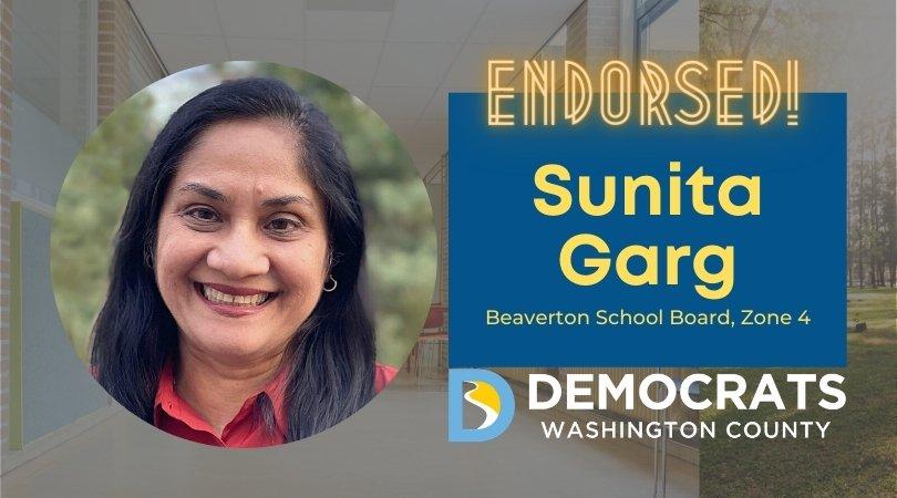 sunita garg candidate headshot with school photo in background and democrat logo