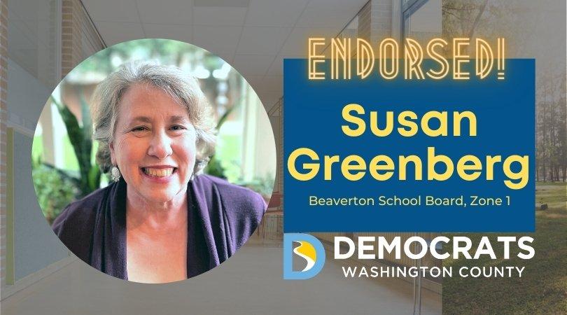 susan greengerg candidate headshot with school photo in background and democrat logo