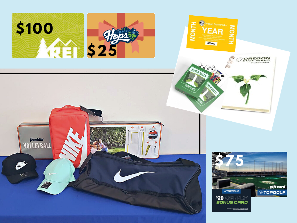 collage of gift cards state park journal and cards as well as nike duffle bags and nike caps