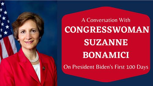 Portrait of Congresswoman Suzanne Bonamici with American Flag