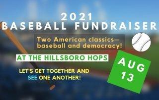 illustrated design with baseball, baseball bat and the hillsboro hops stadium in the background