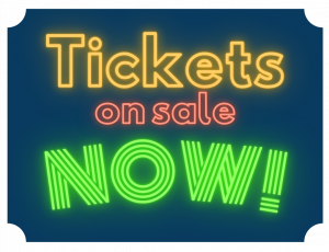 illustration with dark background and neon test that says tickets on sale now