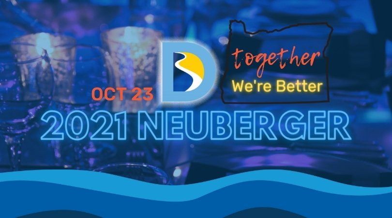 Dark blue lighting on close-up image of cangles at a dinner table with neuberger 2021 in bright blue as text overlay
